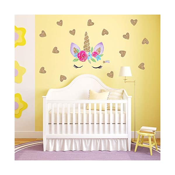 Accmor Unicorn Wall Decals, Unicorn Wall Sticker Decor, Unicorn DIY Stickers for Baby Girls Kids Bedroom Playroom Party Decoration 6