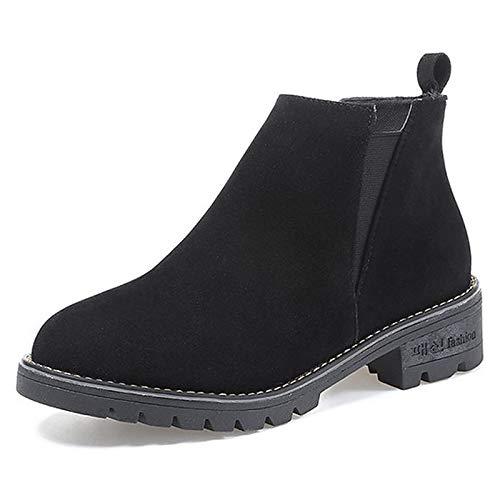 Black US6.5-7   EU37   UK4.5-5   CN37 Black US6.5-7   EU37   UK4.5-5   CN37 Women's Fashion Boots PU Fall Casual Boots Chunky Heel Round Toe Black Green