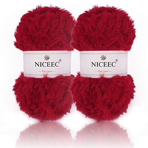NICEEC 2 Skeins Super Soft Fur Yarn Chunky Fluffy Faux Fur Yarn Eyelash Yarn for Crochet Knit-Total Length 2×32m(2×35yds,50g×2)-Red (Green Yarn Lime Eyelash)