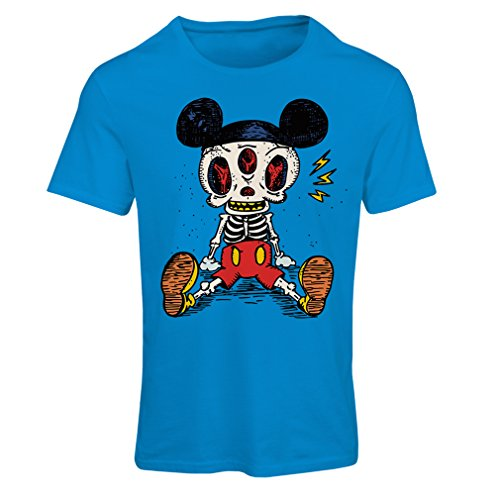 T shirts for women Mouse Skeleton Halloween party outfits Trick or Treat Death Skull design (Medium Blue Multi Color)