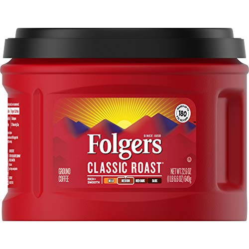 Folgers Classic Roast, Ground Coffee, Medium Roast, 22.6 Ounce, 3 Count, Packaging May Vary