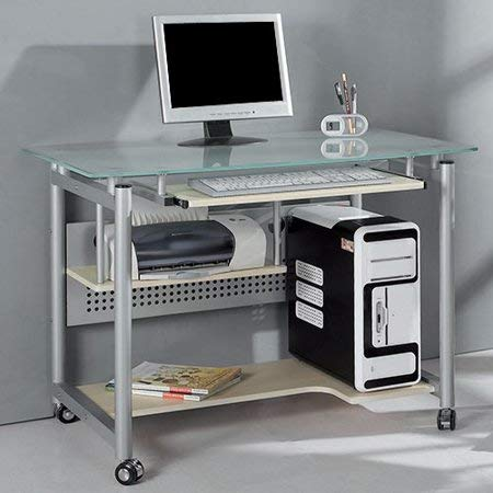 - Rolling Computer Desk, Durable Glass and Silver-Colored Metal, Keyboard Tray Has Built-in Safety Stop, Steel Frame Has a Lead-Free, Silver-Colored, Powder-Coated Finish That Prevents Scratches