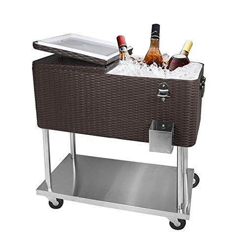 SHAREWIN Rolling Cooler on Wheels Warehouse Trolley Iron Beer Cooler Cart with Large Rattan Storage Space Portable Rolling Storage Cooler Cart