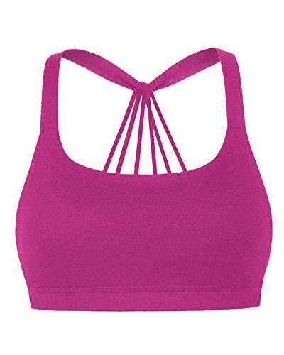Mujer Sujetador Deportivo Push Up Bustier Con Amplio Correas Fitness Yoga Camisetas Sin Mangas Rose