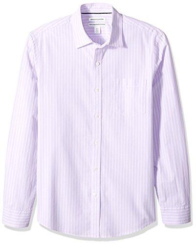 Amazon Essentials Mens Slim-Fit Long-Sleeve Stripe Casual Poplin Shirt