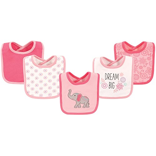 Hudson Baby Unisex Baby Cotton Bibs, Elephant 5-Pack, One Size
