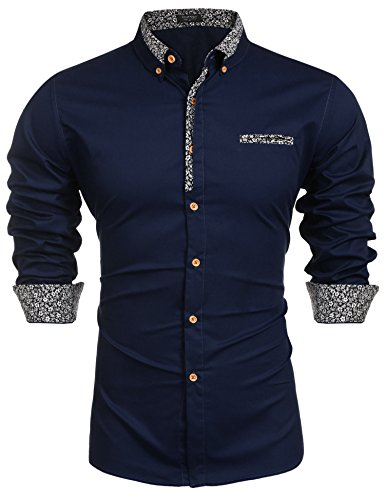 Coofandy Men's Floral Cotton Printed Slim Fit Casual Inner Contrast Dress Shirt Champlain Color Large
