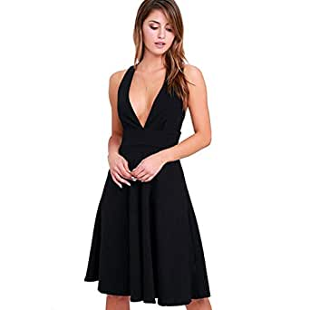 d372a4f340 Image Unavailable. Image not available for. Color  FOLOIN Women s A-Line  Sleeveless Deep V-Neck MIDI Dress