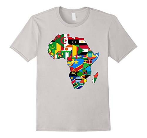 Mens Africa map t-shirt African Country Flag Collage t-shirt Large Silver