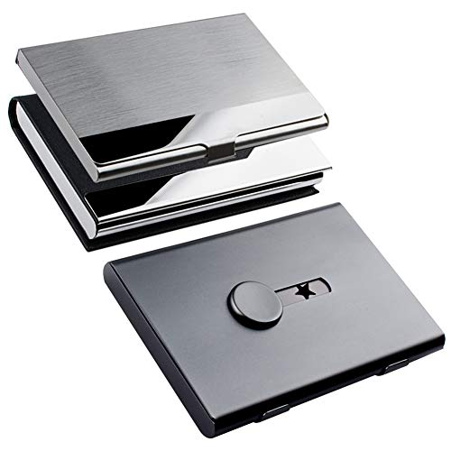 KISSWILL Business Card Holder Case, 3 Different Style Card Holder Include Thumb-Drive Business Card Case and Leather Card Case with Magnetic Shut and Stainless Steel Name Card Case for Men ()