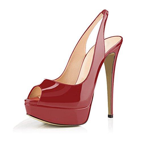Di Vestito Sandali Rosso Donne Peep Partito Dei A Vino Toe Slingback Pattini Tacchi Spillo Tacchi Alti F7FOSZnx