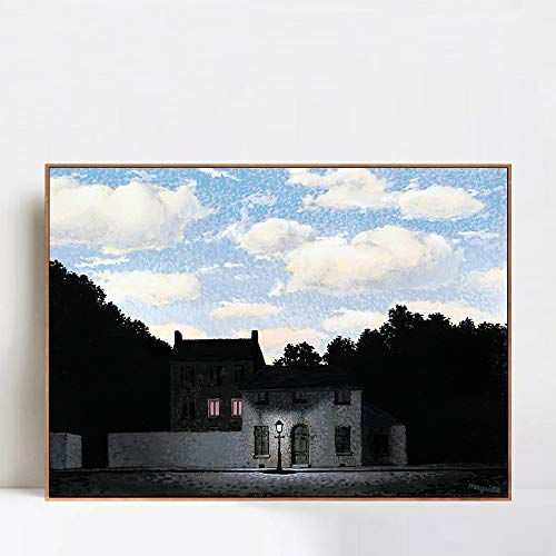 (INVIN ART Framed Canvas Giclee Print Art The Empire of Lights, 1955 by Rene Magritte Wall Art Living Room Home Office Decorations(Wood Color Slim Frame,24