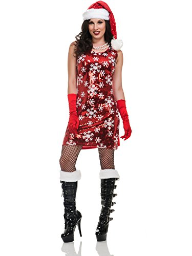 Charades Women's Snowflake Sequin Costume Dress, As Shown, Medium