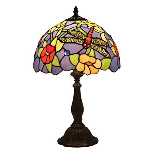 - AIBOTY 12-Inch Pastoral Tiffany Style Bedside Table Lamp Beautiful Dragonfly Stained Glass Shade for Living Room Bedroom Coffee Table Bookcase Bar