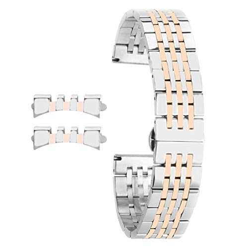 - 16mm Metal Watch Straps Rose Gold Watch Band Replacement for Womens