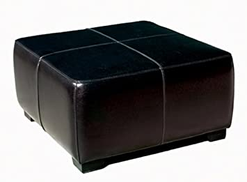 Pleasant Baxton Studio Full Leather Square Cocktail Ottoman Black Gamerscity Chair Design For Home Gamerscityorg