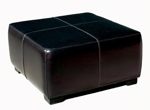 Baxton Studio Full Leather Square Cocktail Ottoman, Black - Full Bycast Leather Ottoman