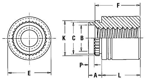 Type KFB3 Unified Pem Broach//Flare-Mount Standoffs KFB3-632-32ET