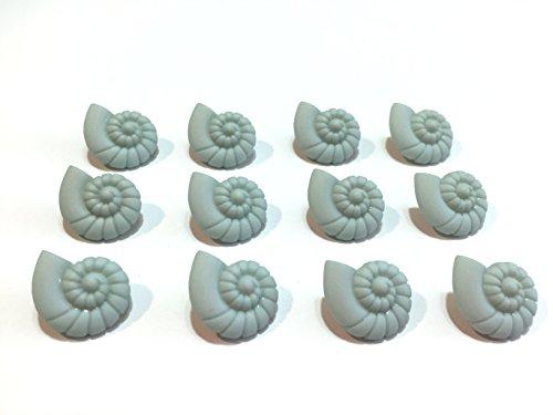(Snail Seashell Buttons Set of 12 Shank Back 1284)