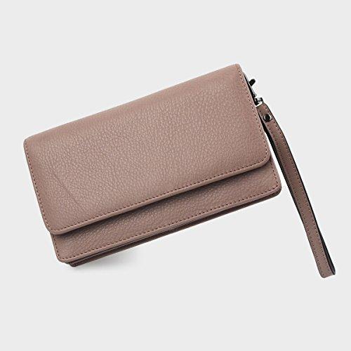 Purse Crossbody Leather Strap Mini Clutch Dark Cell Bag Phone Pink with Women Wristlet Chain xUxwPFHqI