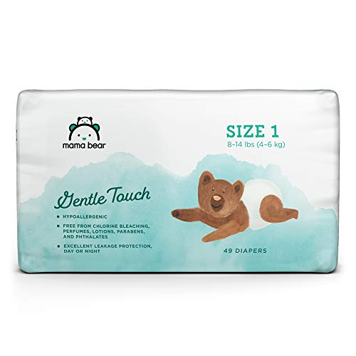 Amazon Brand - Mama Bear Gentle Touch Diapers, Hypoallergenic, Size 1, 49 Count