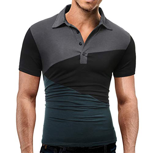 Mikey Store Men's Splicing Turn-Down Collar Polo Tops