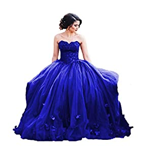 Uryouthstyle 2018 Strapless Quinceanera Ball Gowns Lace Prom Dresses