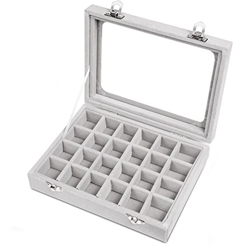 Basuwell 24 Grid Velvet Jewelry Tray for Drawers Glass Clear Lid Showcase Display Storage Ring Trays Holder Earrings Organizer Case-Grey