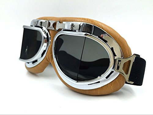Vintage Aviator Pilot Goggles for Cruiser Chopper Motorcycle Scooter ATV Adult(Grey) by Glasses KING