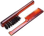 Mondial Moustache Brush Set, Moustache Comb & Beard Brush