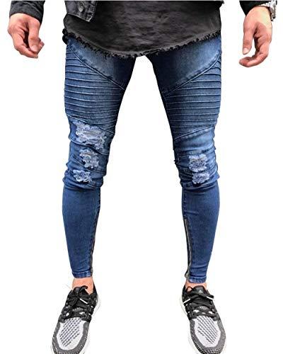 Pantaloni Da Skinny Jeans Denim Fit Blau Distrutti Slim Elasticizzati Plissettati Biker Giovane In Uomo USMVpz