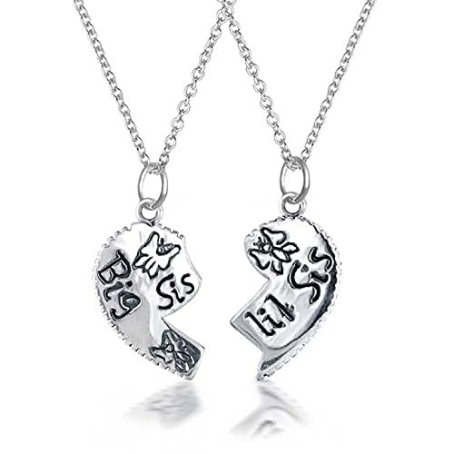 2 PCS Best Friend Big Sis Lil Sis Split Broken Puzzle Heart Break Apart Pendant Necklace For Sister Teen Sterling Silver