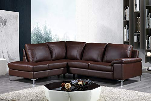 Cortesi Home Contemporary Dallas Genuine Leather Sectional Sofa with Left Side Facing Chaise Lounge, Brown 80 x98