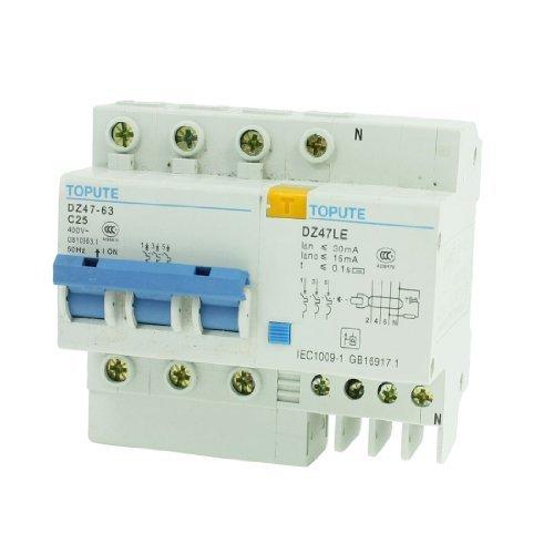 DealMux 35ミリメートルDINレールは3P残留電流回路ブレーカ400VAC 25Aをマウント B073W4DNYS