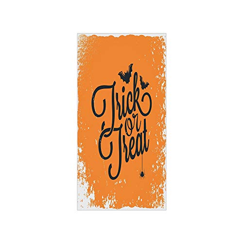 3D Decorative Film Privacy Window Film No Glue,Vintage Halloween,Trick or Treat Halloween Theme Celebration Image Bats Tainted Backdrop Decorative,Orange Black,for -