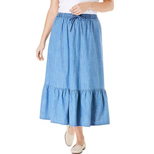 Woman Within Women's Plus Size Drawstring Chambray Skirt - Light Wash, 20 W