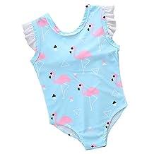 Sziyu Little Girls Flamingo Bikini One Piece Swimwear 1Y-6Y Swimsuit