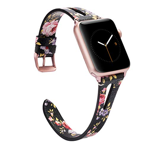 Wearlizer Womens Floral Leather Compatible with Apple Watch Bands 38mm 40mm iWatch Triangle Hole Strap Wristband Beauty Replacement Dressy Distinctive Bracelet (Metal Rose Gold Clasp) Series 4 3 2 1