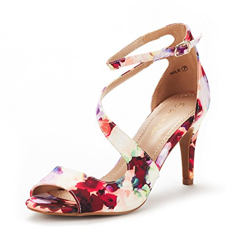 DREAM PAIRS Women's NILE Floral Fashion Stilettos Open Toe Pump Heel Sandals Size 6 B(M) US - Floral Open Toe