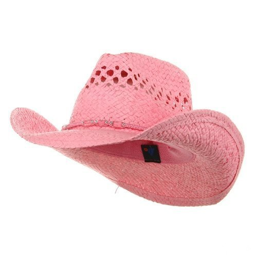 MG Womens Straw Outback Toyo Cowboy Hat, Pink ()