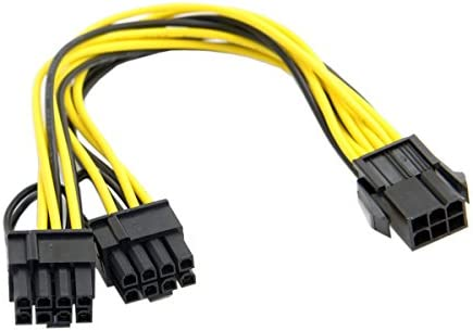 JSER PCI-E PCI Express ATX 6Pin Male to Dual 8Pin /& 6Pin Female Video Card Extension Splitter Power Cable