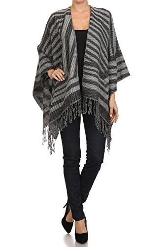 ReneeC. Women's Print Open Front Winter Fashion Cardigan Sweater Poncho (One Size, Striped Grey)