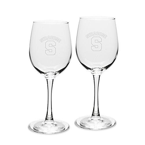 NCAA Syracuse Orange Adult Unisex Set of 2 - 12 oz White Wine Glasses Deep Etch Engraved, One Size, Clear by University Glass