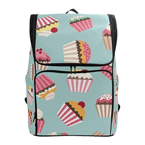 (SLHFPX Laptop Backpack Vintage Cupcake Cherry Sprot Backpack for Men Big 3D Bookbag)
