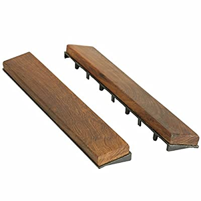 Bare Decor EZ-Floor End Pin-Side Trim Piece Interlocking Flooring in Solid Teak Wood, Oiled Finish (Set of 8)