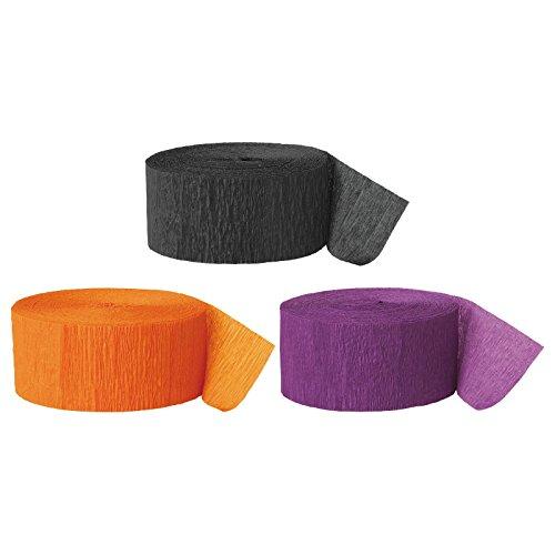 Andaz Press Crepe Paper Streamer Hanging Party Decorations Kit, 240-Feet, Black, Orange, Purple, 1-Pack, 3-Rolls, Halloween Colored Wedding Baby Bridal Shower Birthday -