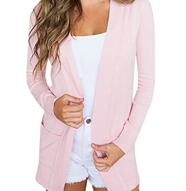 Womens Cardigans Casual Open Front Long Boyfriend Sweaters Lightweight Knit Cardigan with Pockets (Ribbed Open Cardigan)