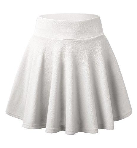 (Skirts for Women, DJT FASHION Women's Basic Flared Casual Mini Skater Skirt without Shorts M White)