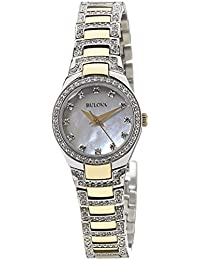 Bulova 98L198 Women's Crystal Quartz Watch with White Mother of Pearl Dial and Two-Tone Stainless Steel Strap
