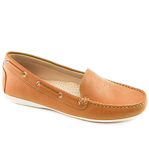 Driver Club USA Women's Leather Made in Brazil Cape Cod Driving Style Loafer Tan Grainy